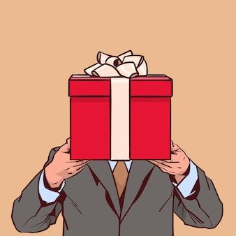 Macho, em, paleto, segurando, presente, caixa, para, womens, feriado dia