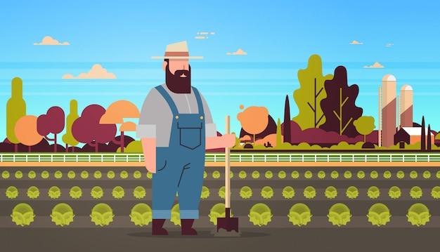 Macho fazendeiro segurando pá plantando repolho verde terra terra campo paisagem eco agricultura conceito horizontal comprimento total plana