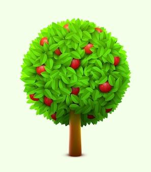 Macieira bonita com folhas verdes e maçãs vermelhas maduras.