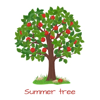 Macieira verde. árvore de verão. jardim natural, colheita e ramo, ilustração vetorial