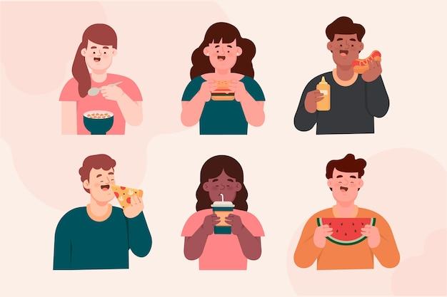 Maço de cidadãos com comida