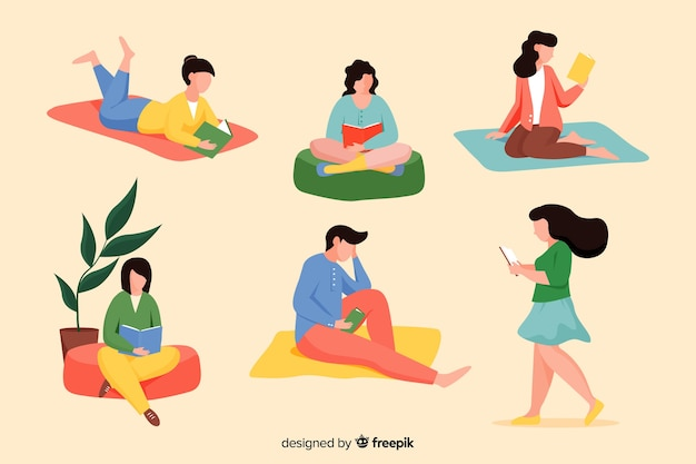 Maço de jovens lendo livros