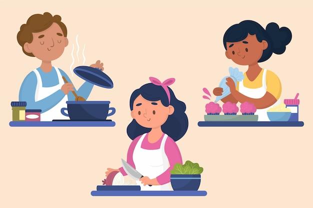 Maço de pessoas cozinhando