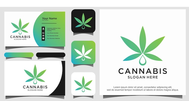 Maconha abstrata, cannabis, ganja para design de logotipo cbd