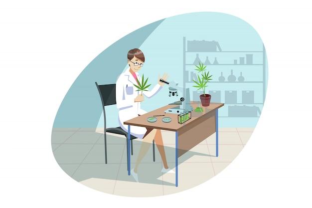 Maconha, cannabis, pesquisa médica, conceito de análise