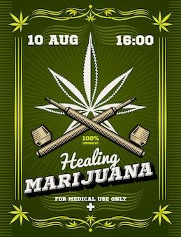 Maconha fumante ervas daninhas droga aviso vector background