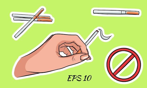 Maços de cigarros em estilo cartoon. sobre um fundo isolado. vetor