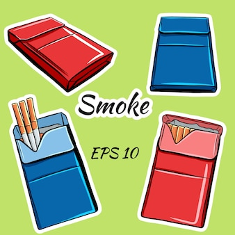 Maços de cigarros em estilo cartoon.