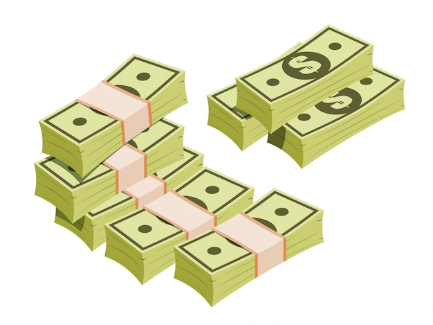 Maços de dólares em estilo isométrico
