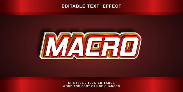 Macro editável de efeito de texto