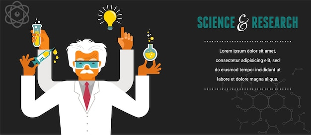 Mad scientist - ilustração de pesquisa, bio tecnologia e ciência