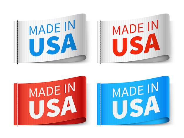 Made in usa tags têxtil, conjunto de vetor de rótulo de moda