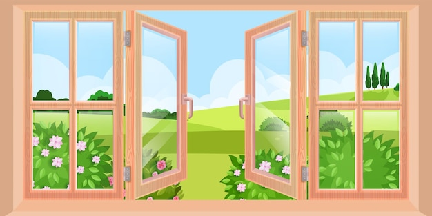 Madeira aberta primavera janela paisagem vista de casa, ilustração de natureza plana, arbustos, colinas verdes. vidro limpo, céu azul, cena externa de árvores distantes. ilustração de janela grande ao ar livre