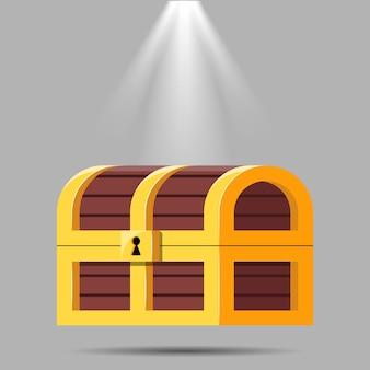 Madeira do baú do tesouro aberto