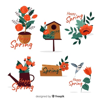 Madeira e flores coleção de rótulo de primavera