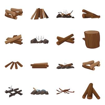 Madeira e natureza. definir o símbolo de estoque de madeira e construção.