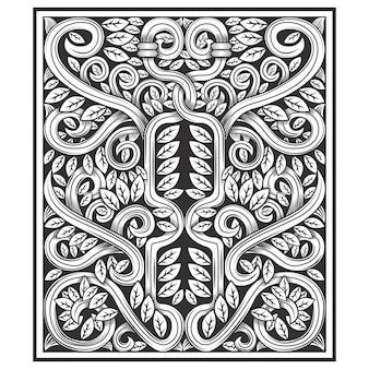 Madeira esculpida com desenho floral
