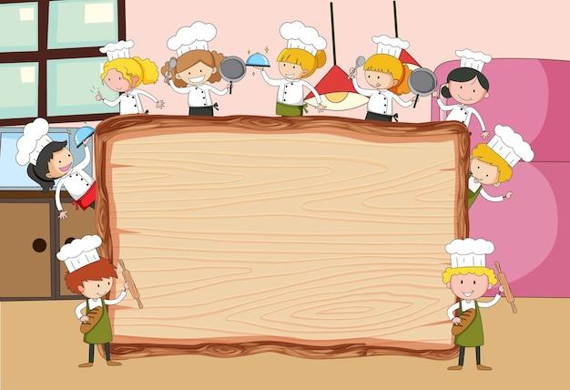 Madeira vazia na cena da cozinha com muitas crianças doodle personagem de desenho animado