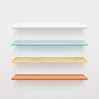 Madeira vazia, vidro, metal, modelo de prateleiras de plástico. interior do conjunto de prateleira para escritório
