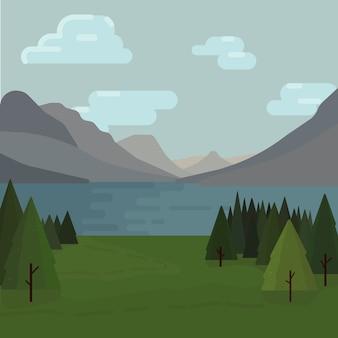Madeiras e paisagem montanhosa