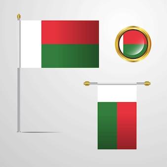 Madgascar acenando design de bandeira com vetor distintivo