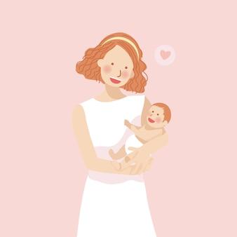 Mãe abraça bebê cheio de amor com flor de pêssego rosa backrgound