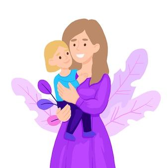 Mãe abraçando a filha dela.