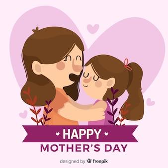Mãe, abraçando, dela, filha, mãe, dia, fundo