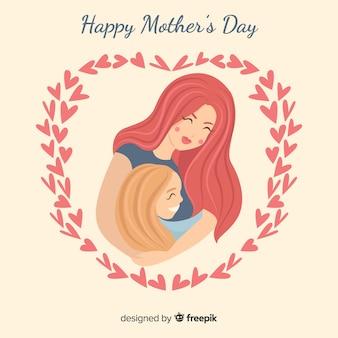 Mãe, abraçando, filha, mãe, dia, fundo
