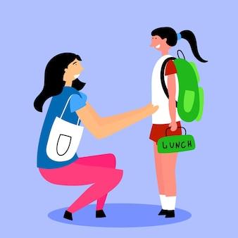 Mãe acompanha a filha até a escola