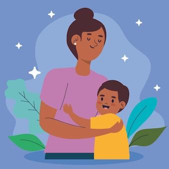 Mãe afro abraçando filho à noite