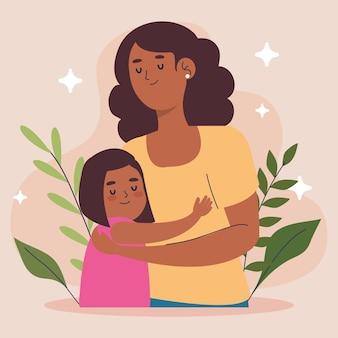 Mãe afro abraçando personagens filhas