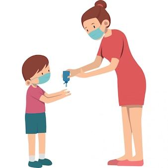 Mãe ajudar seu filho a usar ilustração desinfetante para as mãos