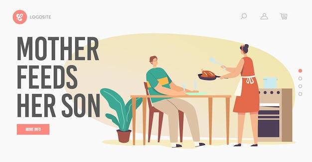 Mãe alimenta filho modelo de página inicial. dona de casa personagem feminina no avental coloque frango frito ou peru na mesa, menino com fome com garfo e faca esperando a refeição. ilustração em vetor desenho animado