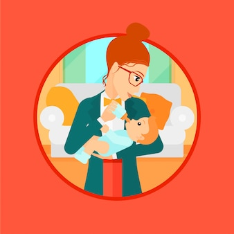 Mãe alimentando o bebê.