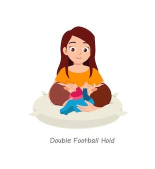 Mãe amamentando bebê gêmeo com pose chamada dupla bola de futebol
