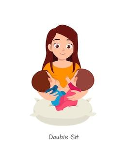 Mãe amamentando bebê gêmeo com pose chamada sessão dupla