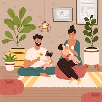 Mãe amamentando bebê recém-nascido em casa. o pai e a irmã mais velha ficam perto da mãe e do bebê, abraçando e apoiando a ela e ao bebê.