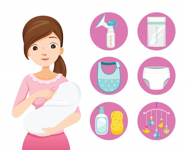 Mãe amamentando e abraçando o bebê. conjunto de ícones de bebê