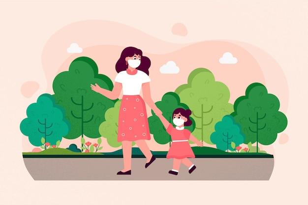Mãe andando com criança com máscaras médicas