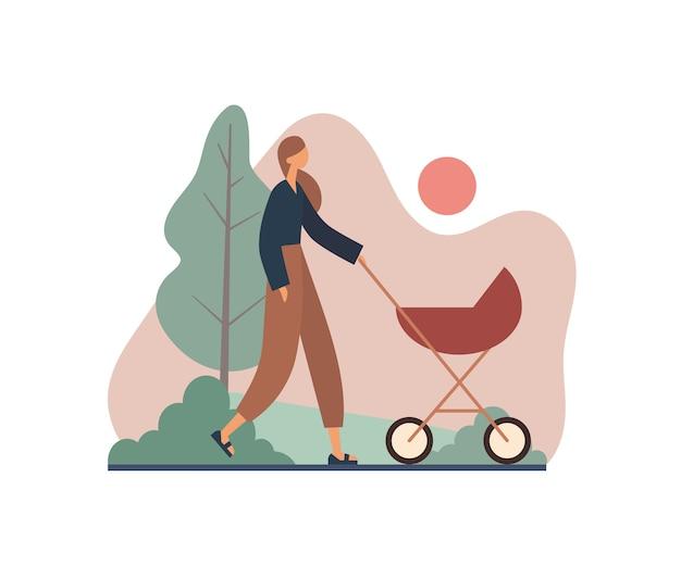 Mãe andando com o carrinho durante o pôr do sol. ilustração