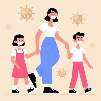 Mãe andando com seus filhos com máscaras médicas