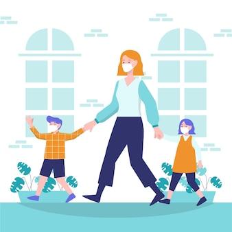 Mãe andando com seus filhos na cidade
