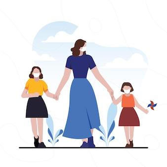 Mãe andando com seus filhos
