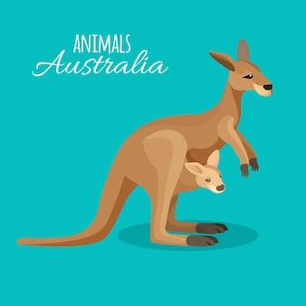 Mãe animal canguru austrália com criança no bolso sobre fundo azul. ilustração de animal marrom marsupial australiano isolado com bebê em estilo simples. criatura herbívora tropical