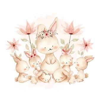 Mãe aquarela e bebê coelho
