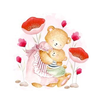 Mãe aquarela e bebê urso