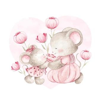 Mãe aquarela e rato bebê