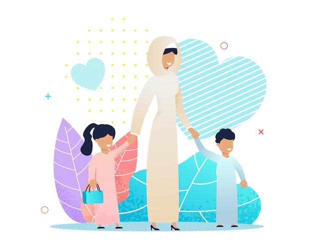 Mãe árabe andando com vários desenhos animados de crianças