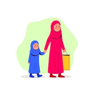 Mãe árabe e sua filha caminhando juntos trazem o saco de papel